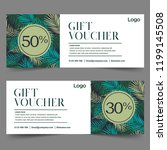 gift voucher template with leaf ... | Shutterstock .eps vector #1199145508