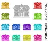 school icon in multi color...