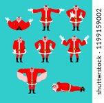 santa pig set pose. good and... | Shutterstock .eps vector #1199159002