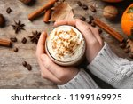 woman holding glass of tasty... | Shutterstock . vector #1199169925
