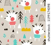 seamless pattern with deer in a ... | Shutterstock .eps vector #1199174098