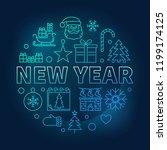 new year round vector blue...   Shutterstock .eps vector #1199174125