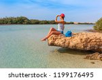tourist woman at the red sea... | Shutterstock . vector #1199176495