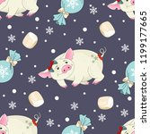 seamless pattern with christmas ... | Shutterstock .eps vector #1199177665