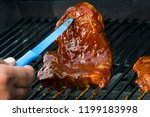 beef steak on grill. grilled... | Shutterstock . vector #1199183998
