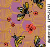 Trendy Purple Pattern With Bee...