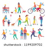 family mom and child with air... | Shutterstock .eps vector #1199209702