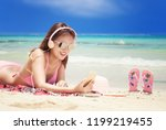 young fashion woman relax on... | Shutterstock . vector #1199219455