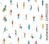 isometric disabled people... | Shutterstock .eps vector #1199221255