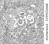 2019 hand drawn doodles contour ...   Shutterstock .eps vector #1199222668