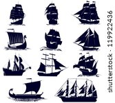 Old sailing ships. Illustration on white background.