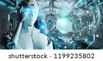 white woman cyborg on blurred... | Shutterstock . vector #1199235802