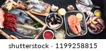 fresh fish and seafood variety... | Shutterstock . vector #1199258815