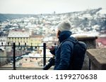 woman tourist   winter city... | Shutterstock . vector #1199270638