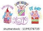 pigs symbol of 2019 set....   Shutterstock .eps vector #1199278735
