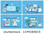 online service set. dating and... | Shutterstock .eps vector #1199285815