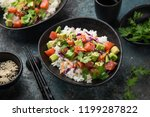 avocado and salmon poke bowl ... | Shutterstock . vector #1199287822