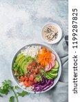 salmon poke bowl  avocado ... | Shutterstock . vector #1199287825