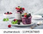 chia seeds pudding with berry... | Shutterstock . vector #1199287885