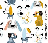 Stock vector childish seamless pattern with funny creative dogs trendy scandinavian vector background perfect 1199290735