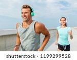 sport  people and technology... | Shutterstock . vector #1199299528