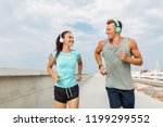 sport  people and technology... | Shutterstock . vector #1199299552