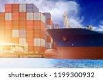 cargo ship moored in the port ... | Shutterstock . vector #1199300932