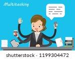 multitasking european female... | Shutterstock .eps vector #1199304472