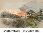 digital watercolour painting of ... | Shutterstock . vector #1199306488