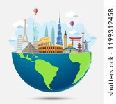 explore the world with famous... | Shutterstock .eps vector #1199312458