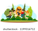 happy kids jumping and... | Shutterstock .eps vector #1199316712