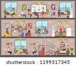 coworking building interior.... | Shutterstock . vector #1199317345