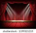 open red curtain and empty... | Shutterstock . vector #1199321215