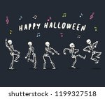 funny dancing cartoon skeleton... | Shutterstock .eps vector #1199327518