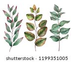 set of watercolor leaves  hand... | Shutterstock . vector #1199351005