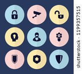 set of 9 privacy filled icons... | Shutterstock .eps vector #1199357515