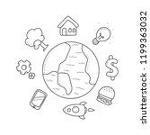 earth and mini icon doodle | Shutterstock .eps vector #1199363032