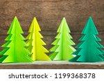 green paper cut as christmas... | Shutterstock . vector #1199368378