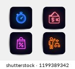 neon glow lights. set of wallet ... | Shutterstock .eps vector #1199389342