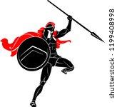 spartan leap spear attack | Shutterstock .eps vector #1199408998