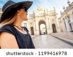 young woman tourist enjoying... | Shutterstock . vector #1199416978