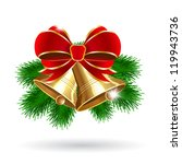 jingle bells with red bow on a... | Shutterstock .eps vector #119943736