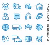 logistics flat line icons. set... | Shutterstock .eps vector #1199442472
