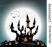 spooky halloween castle with an ...   Shutterstock .eps vector #1199454598