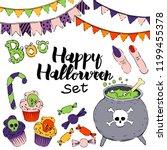 vector set of halloween...   Shutterstock .eps vector #1199455378