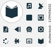 multimedia icons set with... | Shutterstock .eps vector #1199456032