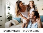 happy family having fun time at ... | Shutterstock . vector #1199457382