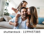 happy family having fun time at ... | Shutterstock . vector #1199457385