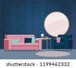 blue interior with pink sofa. | Shutterstock .eps vector #1199462332