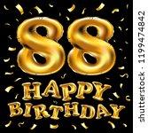 raster copy happy birthday 88th ... | Shutterstock . vector #1199474842